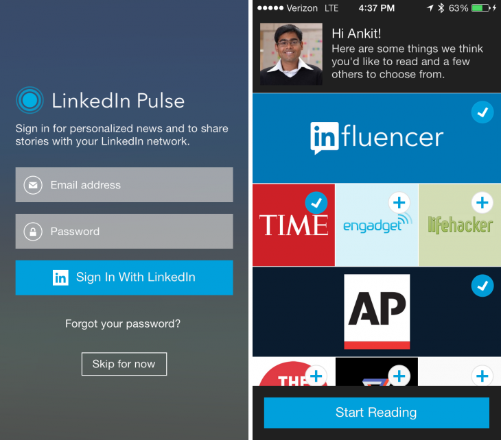 login 730x642 LinkedIn integrates with Pulse across mobile and desktop, replacing LinkedIn Today