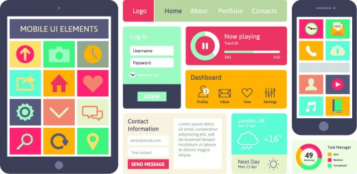 Mobile UI vector elements