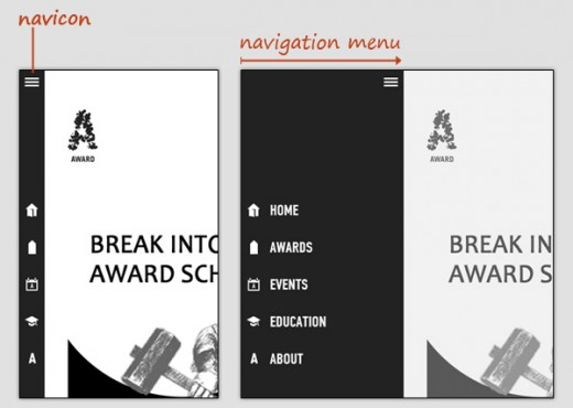 navicon transformicon 03award 520x370 How to make your navigation bar more exciting with transformative icons