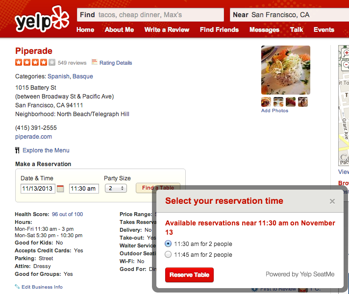 seatme widget After acquiring the online reservation startup, Yelp adds option to book SeatMe reservations from its listings
