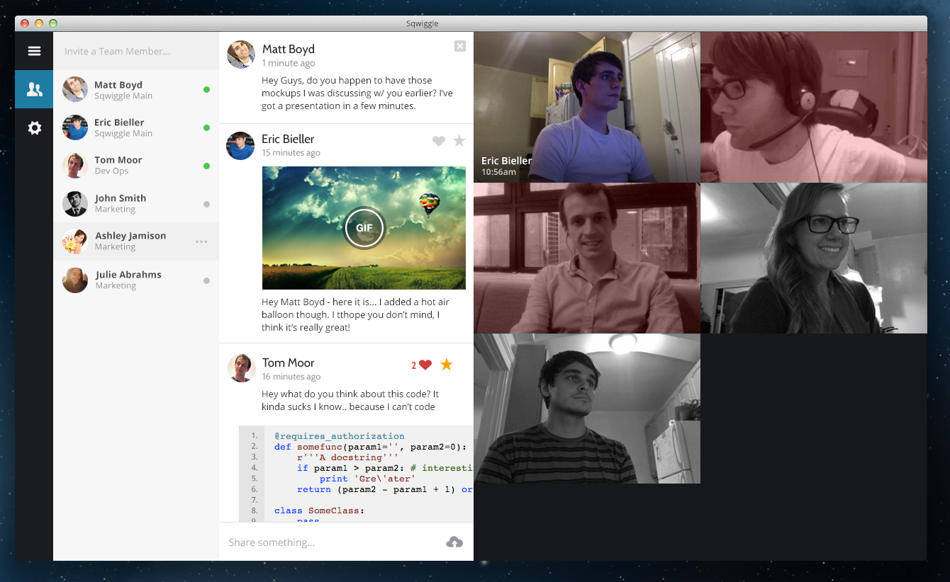 Sqwiggle's Mac and browser-based remote workplace app is now free for teams of three people or less