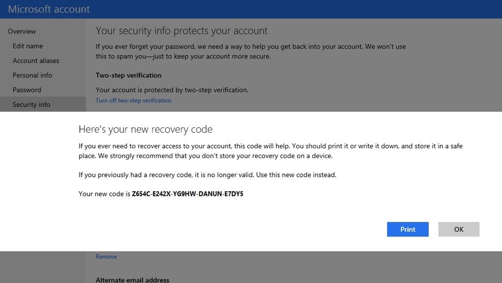 2275.recovery code 539EA150 Microsoft beefs up account security with recent activity, recovery codes, and better notification controls