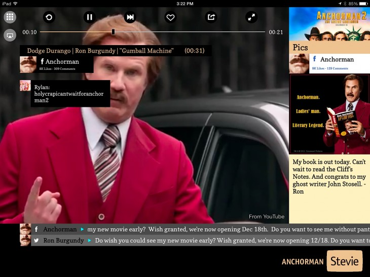 AnchormanChanneloniPAD 730x547 Stevies social TV platform hits Android, and now lets you beam channels to the big screen via Apple TV