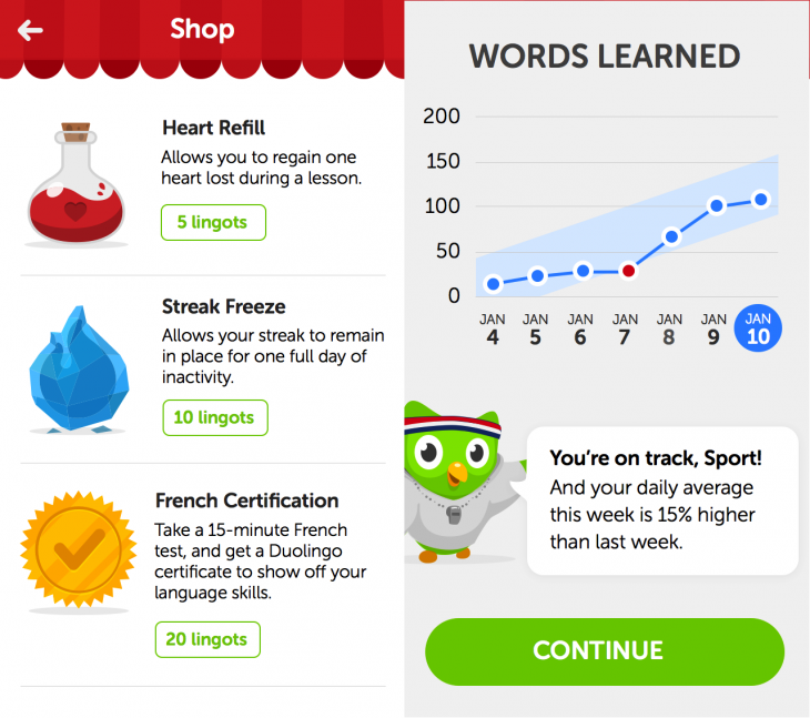 Duolingo 1 730x647 Duolingo introduces gamified virtual store to its iOS app to keep language learners engaged