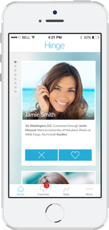 Hinge home1 220x461 Dating app Hinge gets a makeover with a new interface and improved matching algorithms
