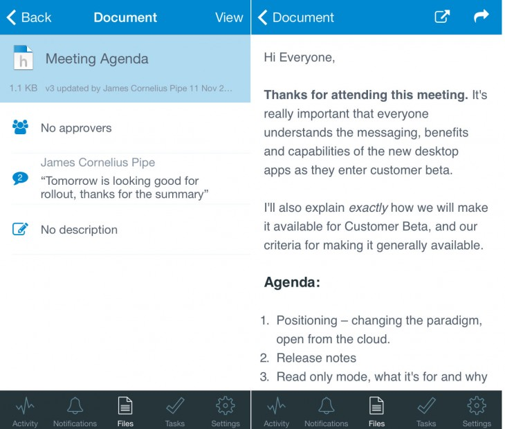 Huddle Note iOS Screenshot 1 730x620 Enterprise team platform Huddle unveils Notes, another alternative to Google Docs and Microsoft Word