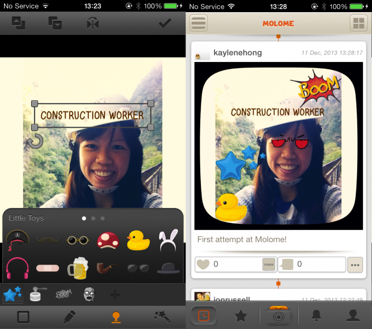 Molome 1 730x647 Bored of Instagram? Molome is a wacky alternative where photos have stickers, captions and more