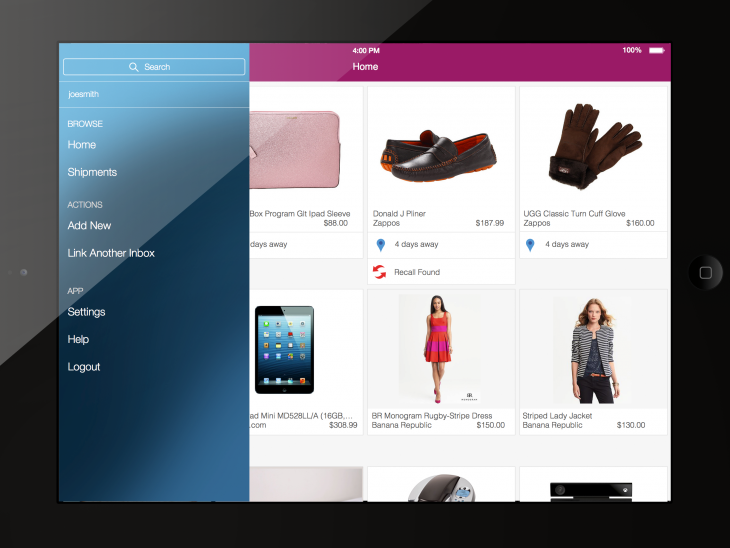 Slice iPad home nav 2 730x548 Slice now lets you track all your online purchases from your iPad