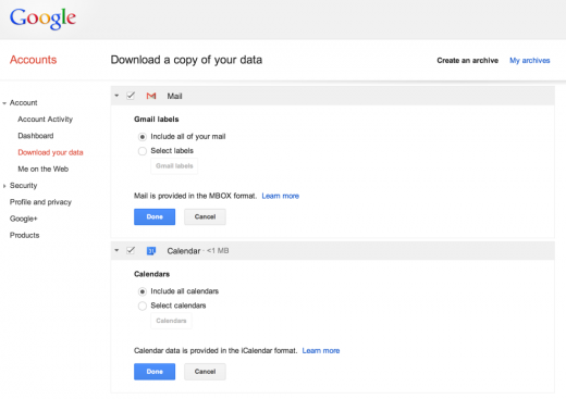 Takeout1 520x367 Google now lets you download a copy of your Gmail and Google Calendar data