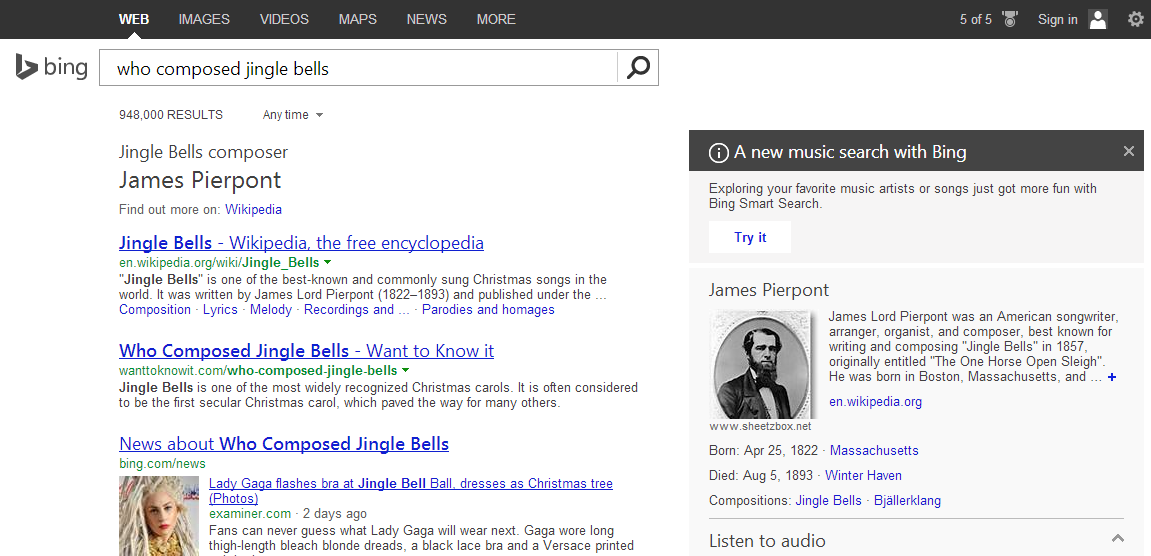 bing jingle bells Microsoft updates Bing to surface famous speeches, online courses, app downloads, and more directly in results