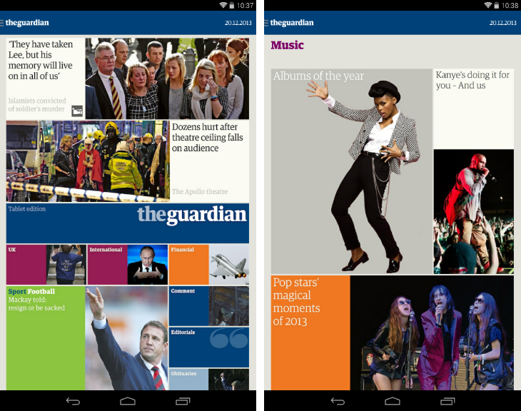g1 The Guardian and Observer newspapers are now available as a Kindle Fire and Android tablet app
