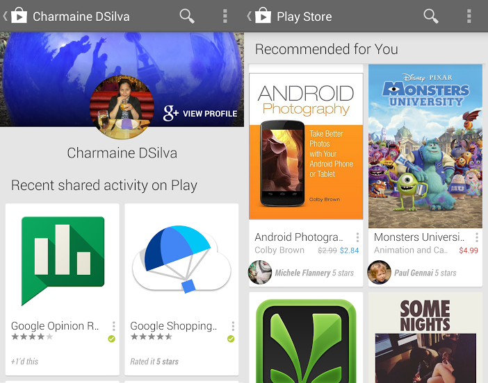 google play google plus Google Play gets Google+ integration to show content youve rated and recommendations from your friends