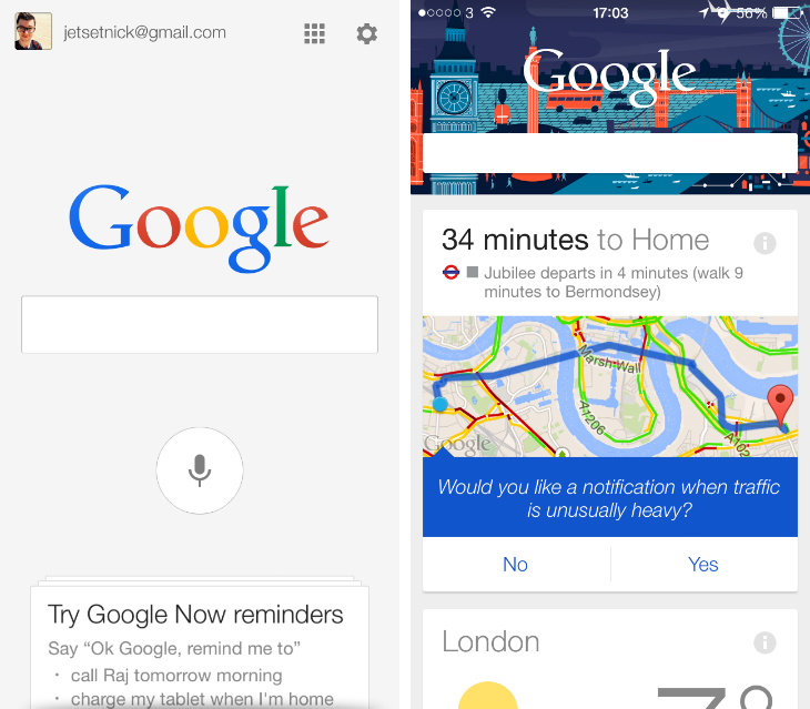gsearch1 Google Search app gets an iOS 7 redesign, smarter Google Maps integration and image search on iPad