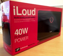 iLoud boxed1 220x196 iLoud review: A wireless speaker for mobile musicians that lives up to its name