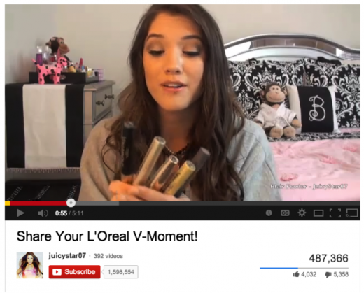 loreal vmoment 520x419 Want to increase your brands relevancy? Partner up with tween YouTube stars