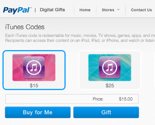 paypal store1 520x421 PayPal launches a digital gift store, featuring Apple as its sole launch partner