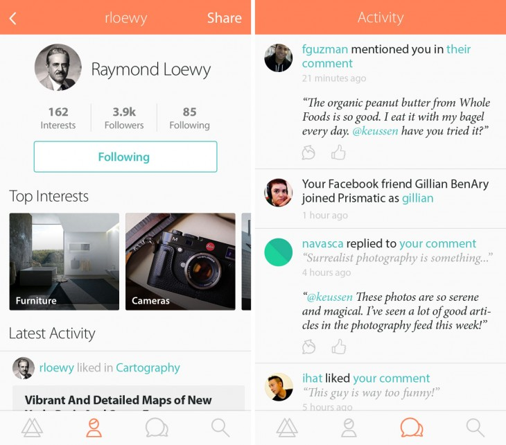 profile 730x642 Prismatic's redesigned iOS app now helps you find content relevant to your interests