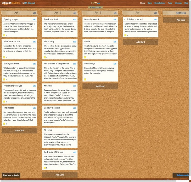 resource 7 730x698 Amazon Storybuilder launches in beta, gives writers a virtual corkboard to map out their next script