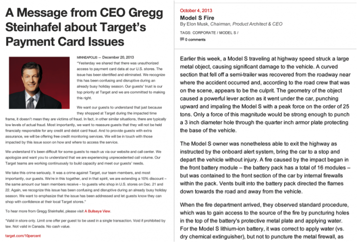 target letter credit card 730x495 Tesla vs. Target: Which CEO wrote the better transparency letter?