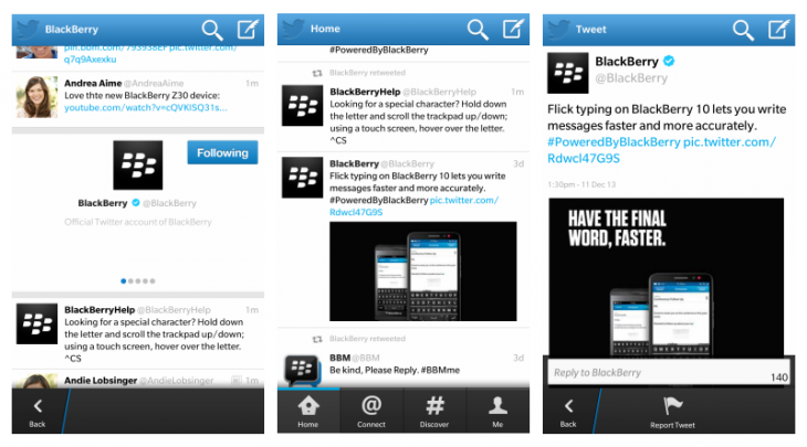 twitter screens 730x405 Twitter for BlackBerry 10 update brings BBM integration, photo previews and more