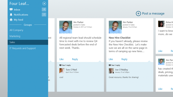 windows 8 screenshot 730x410 Yammer updates all its apps: Android, iPhone, and iPad redesigned, Windows 8 and WP8 get better notifications