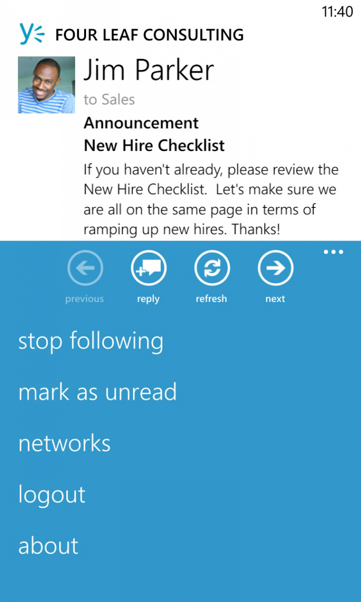 windows phone inbox 730x1216 Yammer updates all its apps: Android, iPhone, and iPad redesigned, Windows 8 and WP8 get better notifications