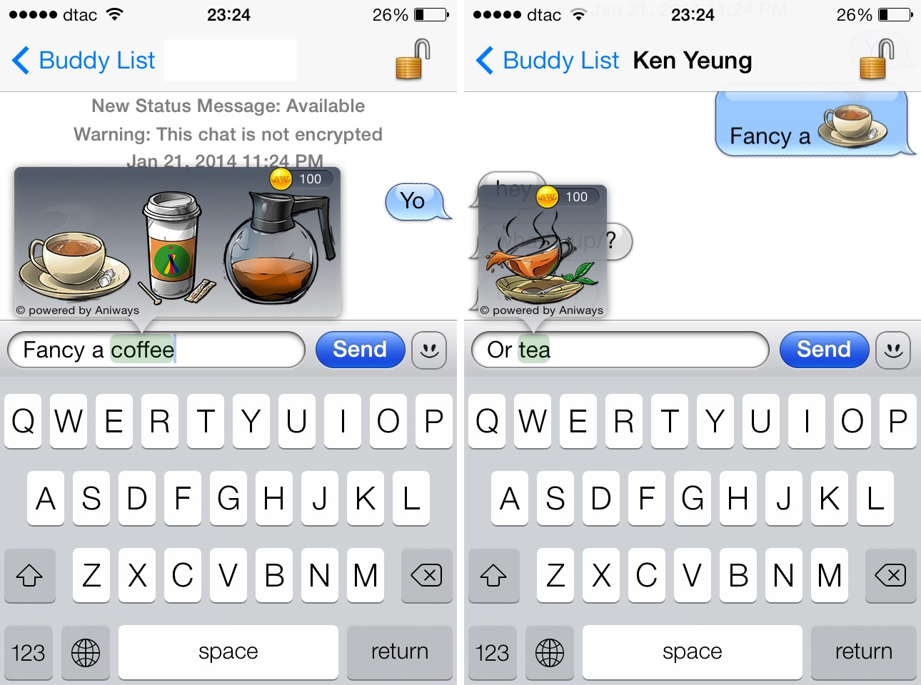 1 Aniways intelligent emoji system helps you pick stickers and emoticons as you type