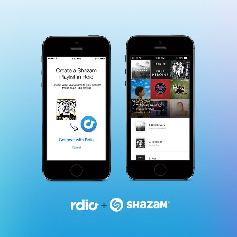 6a014e87574ac9970d01a3fcae11bf970b 800wi Shazam will now automatically add tagged tracks to a unique Rdio playlist in 35 countries