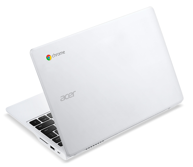 Acer C720P Chromebook white touch rear left angle
