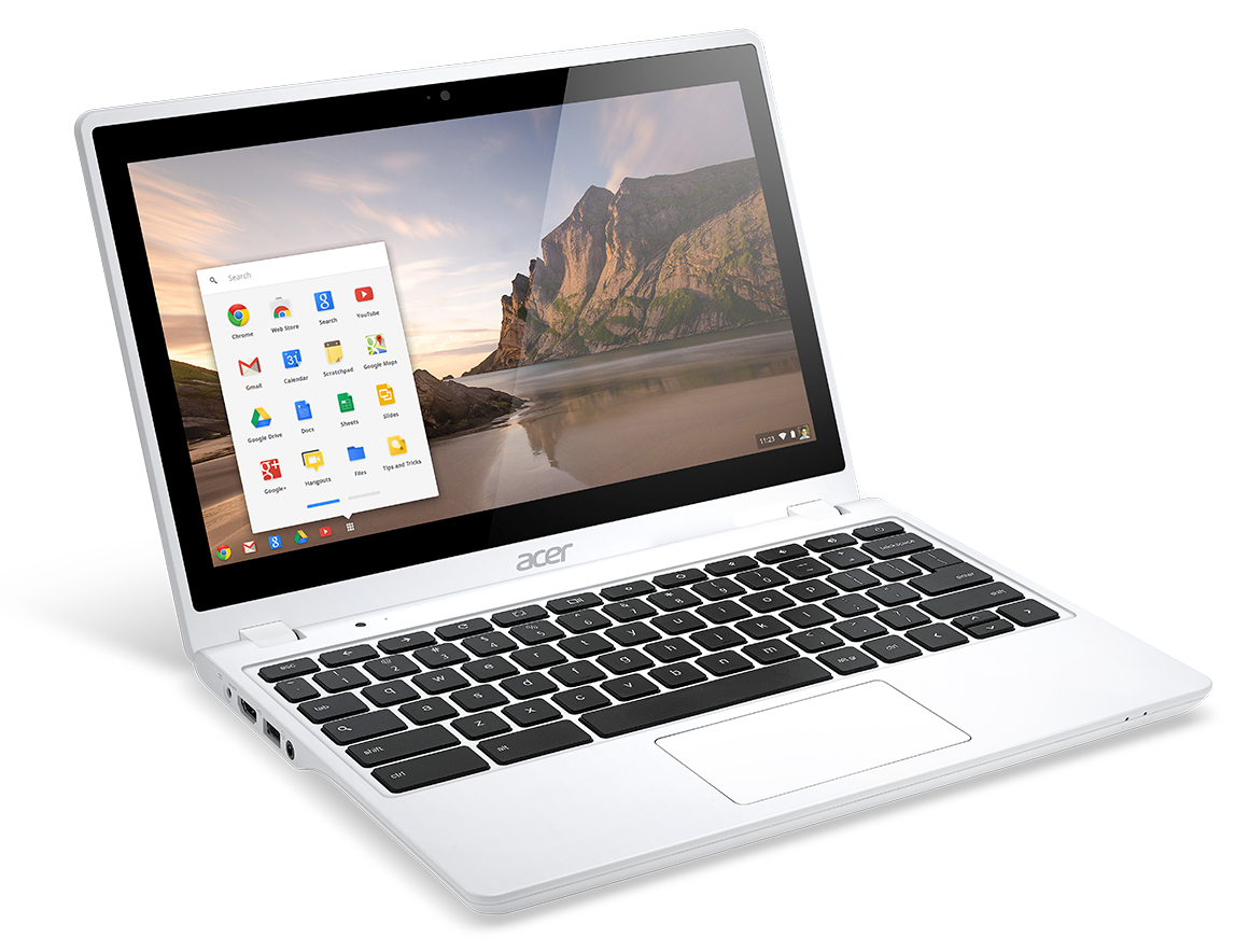 Acer C720P Chromebook white touch right angle