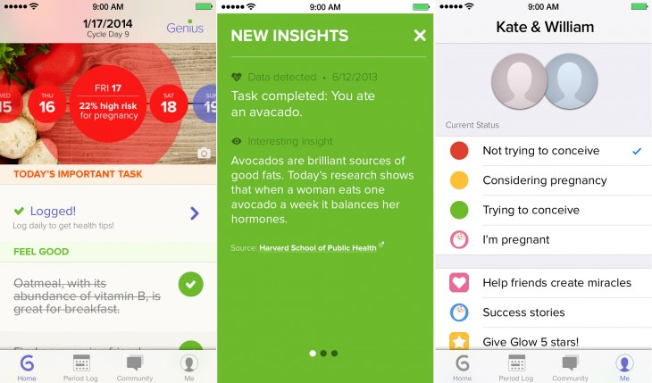Glow Home 730x429 Glows fertility app lands on Android, and now targets all women