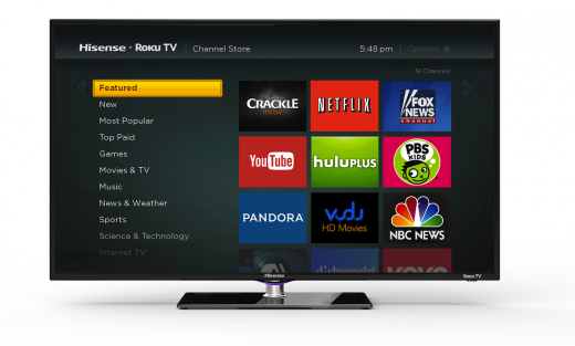 Hisense RokuTV ChannelStore 520x313 Set top box maker Roku announces its first smart TV, coming to stores this fall