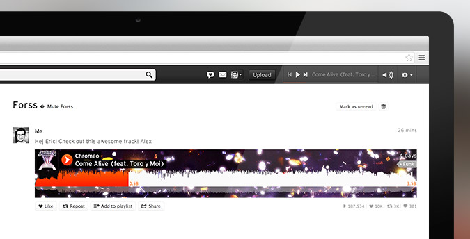 Message sent Screenshot Cinema3 SoundCloud makes it easier to share and discuss audio with a revamped messaging system