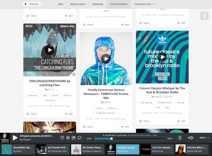 Player withqueue 730x536 Mixcloud revamps Web platform for launch of Mixcloud X, adds Branded Profiles for Brand Partners