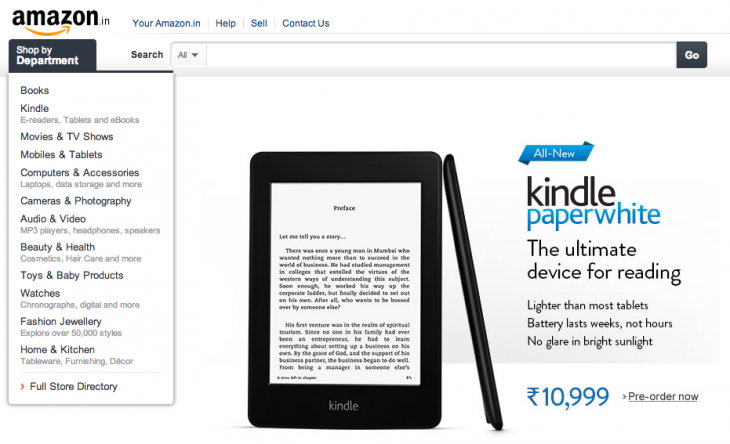 Screen shot 2014 01 15 at PM 01.29.42 730x444 Amazon brings its new Kindle Paperwhite to India, available from February 4