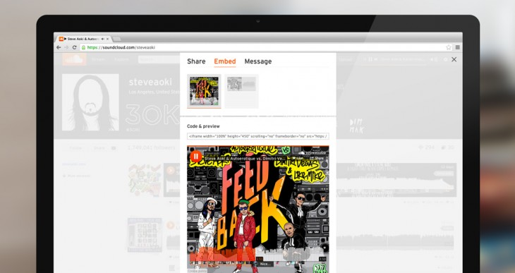 SoundCloud Visual Player Steve Aoki 730x387 SoundCloud launches an artwork rich embeddable visual player for the Web