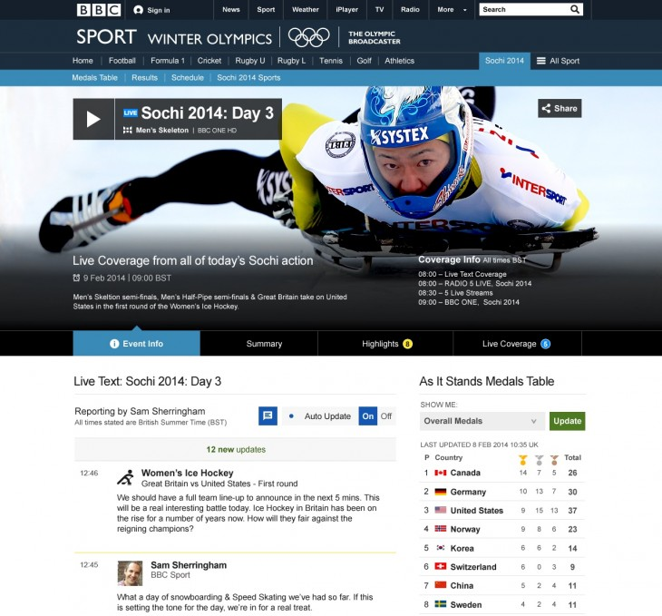 Winters live page desktop screenshot 730x679 The BBC plans for a digital Winter Olympics: 6 HD streams and 650 hours of live action