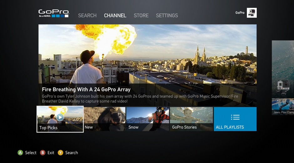 XboxApp ChannelHomeScreen Microsoft announces GoPro Channel Apps coming to the Xbox 360 this spring and Xbox One this summer