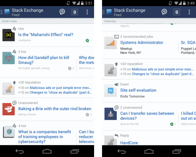 f8008 Stack Exchange launches on Android with a combined feed and notifications, says iPhone alpha is coming soon