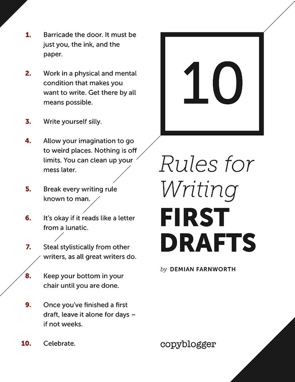 first drafts poster 21 5 ways to get through writer's block or content marketing fatigue