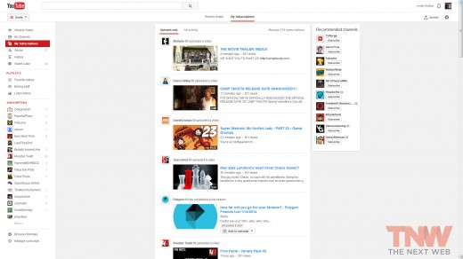 mysubssciptions tnwlogo 520x292 Here's a look at YouTube's latest experiment: a cleaner interface with more focus on videos