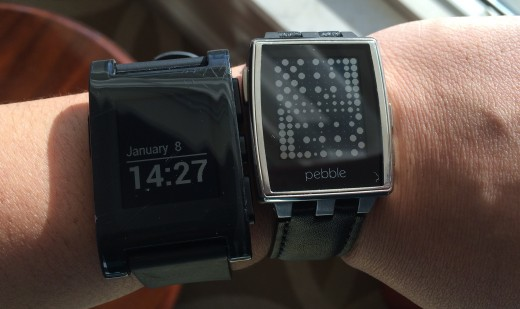 Left: Original Pebble Right: Pebble Steel (leather)