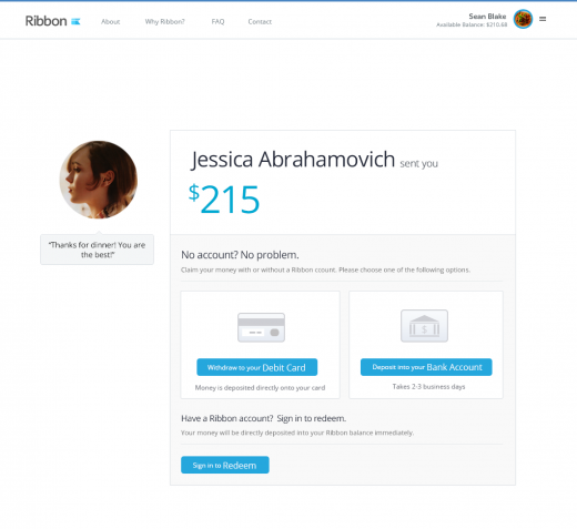 ribbon press 3 520x477 Ribbon takes on Square and Venmo with an account free peer to peer service for sending money