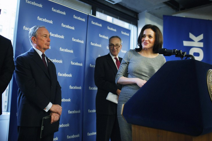 Facebook's Chief Operating Office Sheryl Sandberg Makes Announcement With Mayor Bloomberg