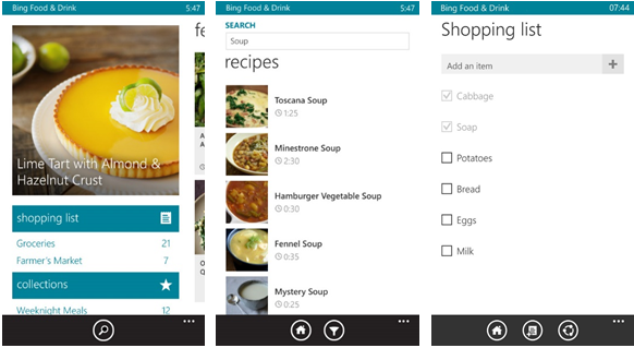 BingFoodDrinkWP8 1 Bing Food & Drink, Health & Fitness, Travel apps add sync, drop beta tag on Windows Phone 8