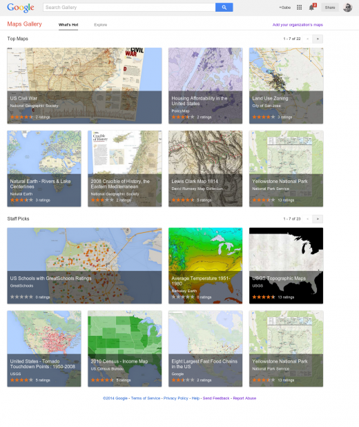 Gallery Home Page 520x618 Google launches Maps Gallery, a new digital atlas that lets you explore third party maps