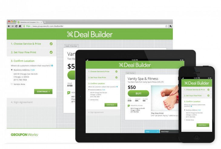 Groupon DEALBUILDER 730x492 Groupon launches self service Deal Builder for almost all local US merchants