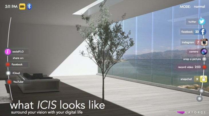 Icis interface 730x407 Google Glass a like Icis smart glasses want to connect tech with fashion