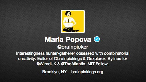 Maria Popova Twitter bio How to write a professional bio for Twitter, LinkedIn, Facebook, and Google+