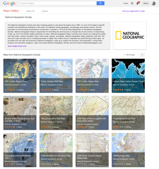 NatGeo 520x552 Google launches Maps Gallery, a new digital atlas that lets you explore third party maps